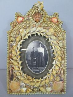 Vintage-Antique-Sailors-Valentine-Sea-Shell-Picture-Frame-Victorian-14-by-9