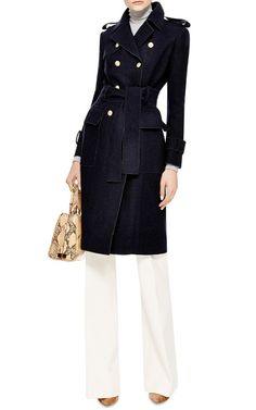 Stylish and Classic. Melton-Wool Trench Coat (Thom Browne)