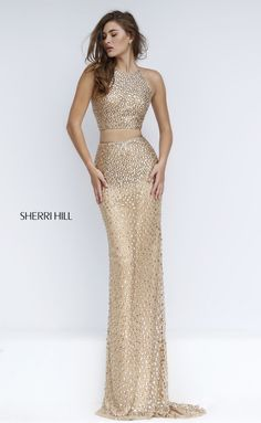 Sherri Hill 50087 Style Sequins Embellished Two Pieces Prom Dress