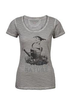 recolution Frauen organic T-Shirt LILLE grau #STAY CLOSED TO NATURE fair trade Bio Baumwolle