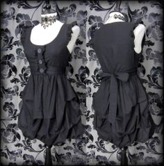 Victorian Gothic Black Hitched Puffball Dress 10 12 Steampunk All Saints Style | THE WILTED ROSE GARDEN