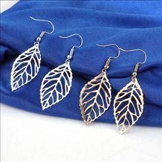 Gold Or Silver Leaf Earrings