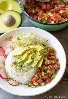 Healthy Gluten Free Hawaiian Ahi Poke Bowl Recipe loaded with rice, fresh Hawaiian poke, avocado, radishes, sprouts, and seasoning. This sushi bowl variety
