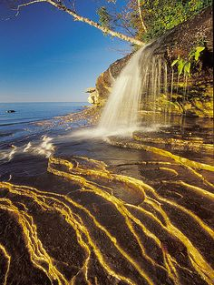 Waterfall in Pictured Rocks National Lakeshore, Michigan near Miner's Beach