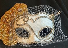 Gold Masquerade Mask Gold & White Bridal by IrmasElegantBoutique