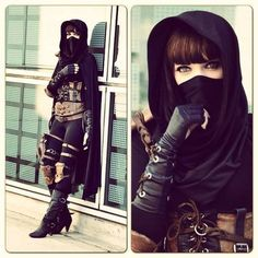 Steampunk ninja or thief (female) Steampunk Cosplay, Steampunk Fashion, Steampunk Assassin, Steampunk Female, Halloween Kostüm, Halloween Costumes, Women Halloween, Mori Girl, Steam Punk