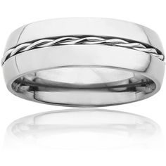 West Coast Jewelry Titanium Rope Twist Inlay Center Ring ($19) ❤ liked on Polyvore featuring jewelry, rings, white, white ring, titanium rings, wide band rings, twisted rope ring and rope jewelry