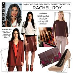 """love the skirt and white shirt        """"Guest Editor Rachel Roy's Top Winter Hue: Oxblood"""" by polyvore-editorial on Polyvore"""