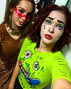 Halloween costumes for this year were the last minute desition!!! And we loved it!!! #halloween #halloween2017 #halloweencostume #halloweenmakeup #popart #nativeamerican