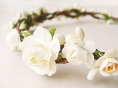 Bridal Flower Crown, Floral Crown, Bridal Headpiece, Ivory Cream, Wedding Hair Accessories, Romantic, Fairy, Mulberry Flowers, Roses on Etsy, $65.00