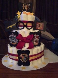 Superior Created This Diaper Cake For My Friends Baby Shower. Great For A Harry  Potter Fan