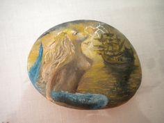 Ζωγραφική σε βότσαλο - Γοργόνα, Painted pebble, Mermaid