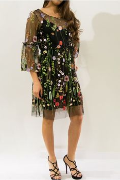 Black flowered embroidered dress
