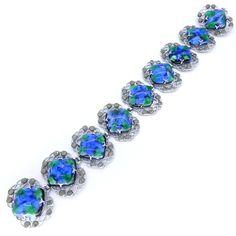 Vintage Art Deco Peacock Foil Glass Marcasite Panel Bracelet | Clarice Jewellery | Vintage Costume Jewellery