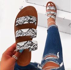 2019 women fashion wild beach shoes Snake totem three-layer non-slip outdoor slippers sandals flat bottom ladies slippers Two Strap Sandals, Cute Sandals, Cute Shoes, Flat Sandals, Summer Sandals, Outfit With Sandals, Shoes Flats Sandals, Fashion Sandals, Womens Slippers