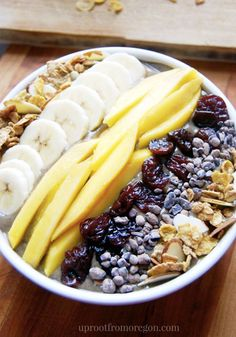 Gather all your favorite fresh and healthy ingredients to create something special for your first meal of the day! This Mighty Mango Acai Bowl is packed with mango, banana, spinach and granola. You'll feel good about what you're eating, so dive right into this breakfast recipe with a big spoon.