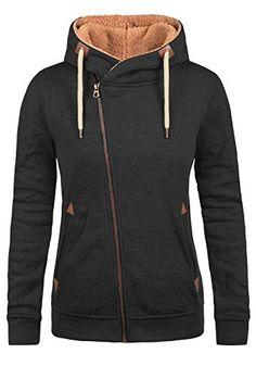 69f00bcfc9a96d DESIRES Vicky Pile Zip Hood Damen Lange Sweatjacke Cardigan Sweatshirtjacke  Mit Teddy-Futter Und Kapuze