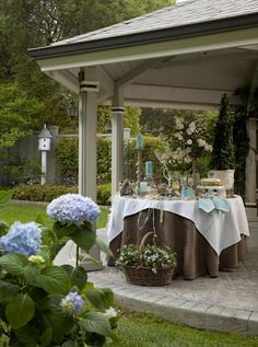 garden tea party blue hydrangeas: