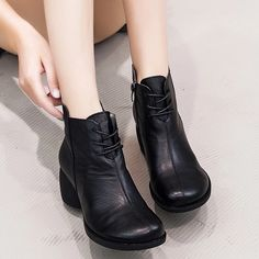 Apr 2020 - GKTINOO New High Quality Women Ankle Boots Handmade Genuine Leather Woman Boots Round Toe Lace Up Shoes Female Footwear Outfit Accessories From Touchy Style. Shoes Boots Combat, Shoes Boots Timberland, High Ankle Boots, Shoe Boots, Leather Shoes Brand, Black Leather Shoes, Mens Boots Online, Lace Up Shoes, Outfit