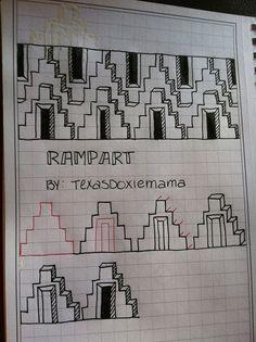 Rampart Zentangle pattern by TexasDoxieMama Tangle Doodle, Tangle Art, Zen Doodle, Doodle Art, Doodle Ideas, Doodle Inspiration, Zentangle Drawings, Doodles Zentangles, Doodle Drawings