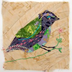 Mandy Pattullo - Unframed appliqued bird with embroidery on to vintage crazy quilt scrap. She has a series of these gorgeous birds from recycled fabrics.