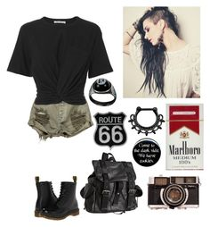 """Cigarettes and lyrics made me"" by xxkrysxx ❤ liked on Polyvore featuring OneTeaspoon, T By Alexander Wang, Dr. Martens, Joe's Jeans, black, rebel, grunge, edgy and alternative"