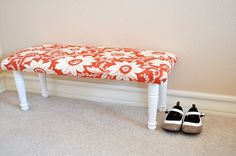 DIY bench from shelf. could use old shelves from guest room to make one for the girls.