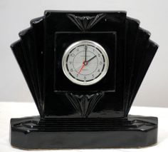 Sarsaparilla Deco Black Art Deco Style Clock