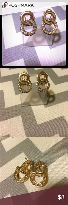 Gold infinity earrings Never worn. I got these in a subscription and I don't wear earrings anymore because they irritate my ears. I have never tried these on. I do (currently) have a matching necklace, ring, and bracelet in my closet and would be willing to bundle at a discount. Price on individual items are firm. No trades. Bundle and save! Jewelry Earrings