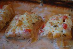 Fisk i chilisås med paprika, gräslök och ost