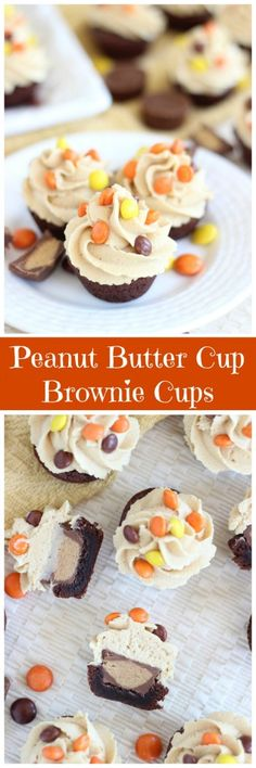 Bite-sized brownie cups, stuffed with a mini Reese's cup, and topped with peanut butter buttercream! You won't want to share!