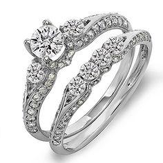 DazzlingRock Collection 1.45 Carat (ctw) 18k Gold Diamond Ladies 3 Stone Bridal Engagement Ring Set With Matching Band 1 1/2 CT