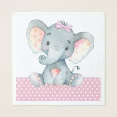 Girl Elephant Baby Shower Paper Napkins - baby gifts child new born gift idea diy cyo special unique design