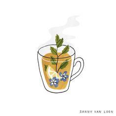 Illustration by Sanny van Loon for the book 'Creative Flow'   www.sannyvanloon.com   Herbal tea