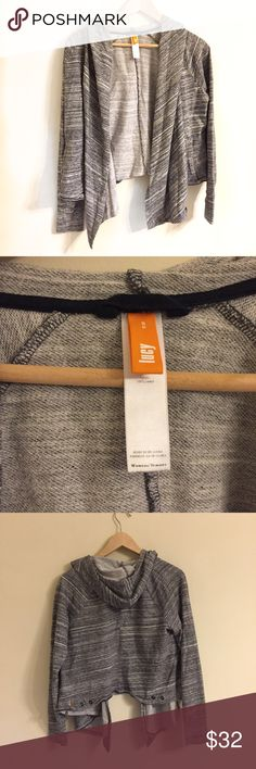Lucy Gray Jacket With Hood Size Small 100% cotton lightweight hooded jacket from Lucy size small. Great Preloved condition. Open front with snaps for a wrap look Lucy Tops Sweatshirts & Hoodies