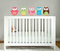 vinyl wall  Kids set of 5 owls decalVinyl Wall Decal por fuwall