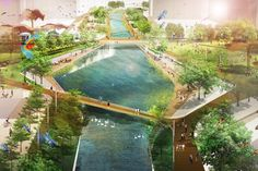 """Kai Tak City, Hong Kong. Winning competition entry """"Living Roots"""" by Morphis."""