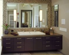 Gain Countertop & Drawer Space: Use A Trough Sink Instead of Double Sinks In your Bathroom Remodel Contemporary Bathroom, House Design, Bathroom Mirror, Bathroom Mirror Frame, Bathrooms Remodel, Bathroom Design, Bathroom Decor, Sink Design, Tile Bathroom