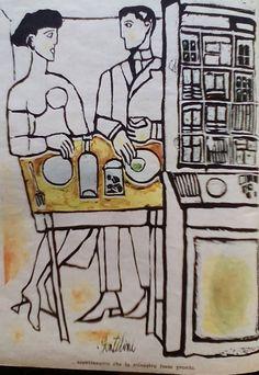 Illustrazione di #FrancoGentilini per un racconto di #MarioSoldati sulla rivista #Tempo anno 1956