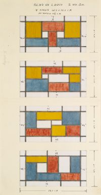 Theo van Doesburg 1883 - 1931 FENSTERENTWURF (DESIGN FOR A STAINED GLASS WINDOW) gouache and pencil on paper 58 by 35cm., 22 3/4 by 13 3/4 in. Modern Words, Modern Art, Hans Richter, Theo Van Doesburg, Francis Picabia, Glass Art Pictures, Animal Graphic, Action Painting, Piet Mondrian