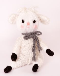 """Cutest lamb yarn doll """"the Lamb"""" from """"Yarn Whirled: Fairy Tales, Fables, and Folklore""""."""