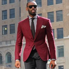 """everybodylovessuits: """"One of the rare times a maroon blazer works and looks stylish """""""