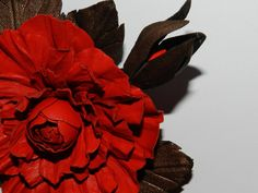 Leather brooch Leather roses handmade 100 leather by jolanya, $30.00