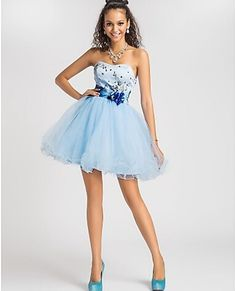 Sky Blue  Mini  A-line  Strapless  Tulle Cocktail Party Dress   Sleeveless Beading Crystal  Custom made