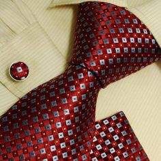 Red checkers designer mens ties personalized gift mens style silk necktie cufflinks hanky set H6007  Red [$79.99]