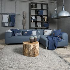 Pillows - plaids - Cosy Bags - Knit Factory - colour; jeans collection. Modern & natural looks for the home by www.knitfactory.nl