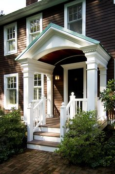 This New Front Porch Addition Helps Amplify The Front . Contemporary Portico By Architecture K G House . Good Feng Shui For Entrance Front Door Decoration Home . Home and Family Front Door Overhang, Front Door Entrance, House Front Door, House With Porch, Front Entrances, House Entrance, Front Doors, Front Stoop, Front Entry
