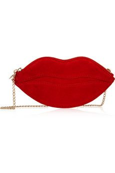 Lips everywhere this spring :) Charlotte Olympia Kiss Purse suede shoulder bag | NET-A-PORTER