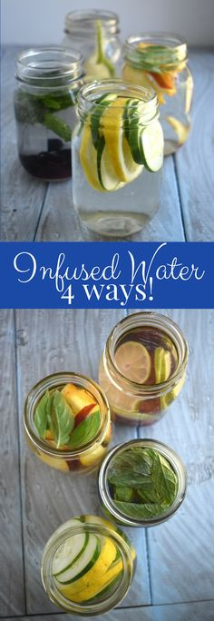 Infused water in 4 different flavors for a super refreshing, no-sugar added drink- lemon cucumber, peach basil, blueberry mint and cherry lime! www.nutritionistreviews.com #healthy #cleaneating #drinks #beverages #water