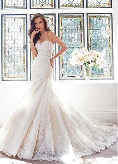 wedding dress/Schnürrücken Herz-Ausschnitt Spitze Satin Strand Organza aufgeblähtes Brautkleider